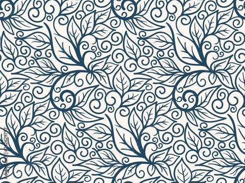 Montage in der Fensternische Künstlich Black and white seamless pattern with leaves