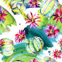Green Cactus. Floral Botanical...