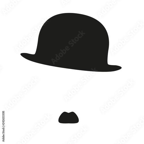 évocation du portrait de Charlie Chaplin, et de son célèbre personnage de Charlo Fototapeta