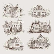 Set Of Rural Landscape With Old Farmhouse And Garden, Hand Drawn Illustration In Vintage Style
