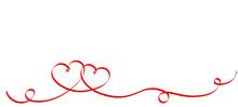 Couple Red Ribbon Hearts Isola...