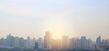 Landscape View Of Bangkok City Background With Rays Of Sunrise.