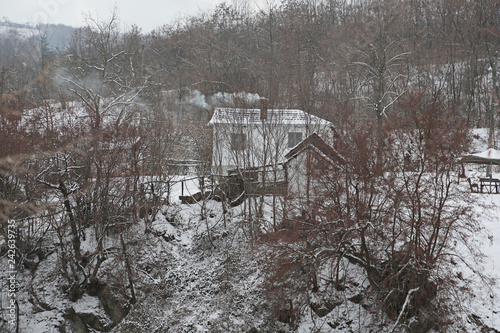 Fotografie, Obraz  old house lodge in the forest in mountains