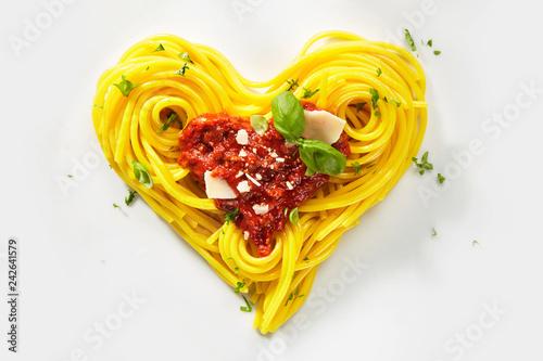 Decorative heart shaped pasta still life