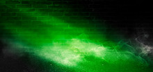 Background Of Empty Scene With Concrete Floor, Neon Lights And Smoke. Background Trend Color Ufo Green