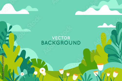La pose en embrasure Vert corail Vector illustration in trendy flat simple style - spring and summer background with copy space for text - landscape
