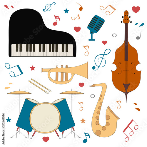 Musical Instruments For Music Shop School Store Blues Jazz Live Country Music Festival Concept Vector Isolated Elements Concert Poster With Saxophone Cello Piano Trumpet Buy This Stock Vector And Explore Similar