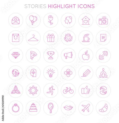 Fotografie, Obraz  Vector set of icons and emblems for social media story highlight covers - design
