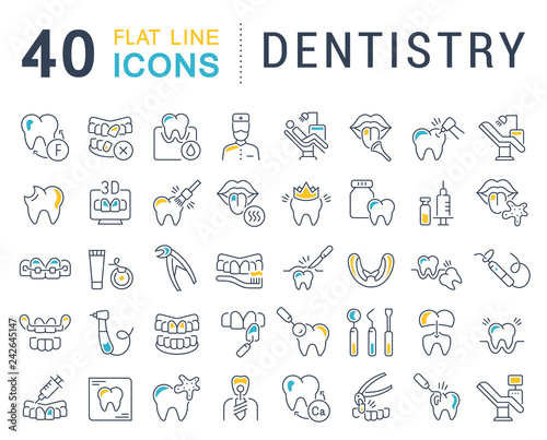 Carta da parati  Set Vector Line Icons of Dentistry.