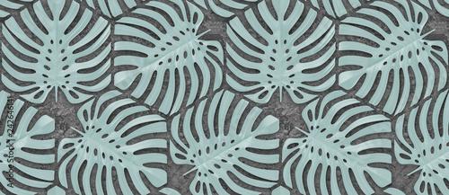 tapeta-3d-z-lisci-monstera-jasnozielonego-koloru-na-szarym-tle-betonu-wysokiej-jakosci-bezszwowa-realistyczna-tekstura