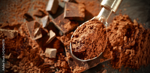 Foto op Plexiglas Chocolade Darksweet chocolate. Hero product shot photo. Free space for your text.