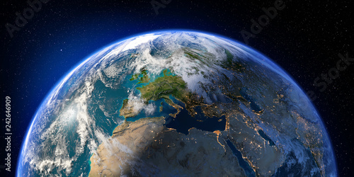 Photo Planet Earth with detailed relief and atmosphere