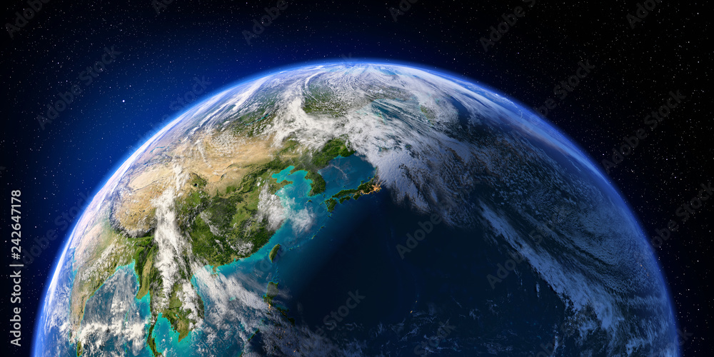 Fototapety, obrazy: Planet Earth with detailed relief and atmosphere. Day and Night. Pacific Ocean. Japan, China. 3D rendering. Elements of this image furnished by NASA