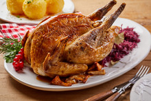 Crispy Roasted Pheasant With Red Cabbage