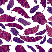 A Seamless Pattern Of Exotic, Vibrant Purple Leaves Of A Banana.