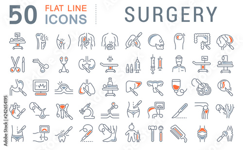 Stampa su Tela Set Vector Line Icons of Surgery.