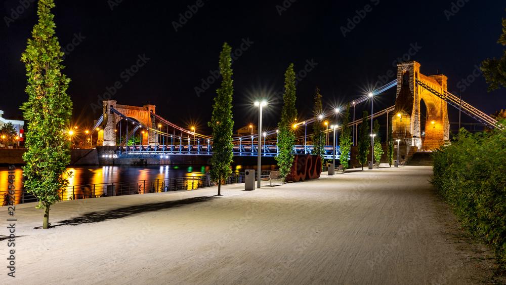 Fototapety, obrazy: Wrocław nocą, Most Grunwaldzki