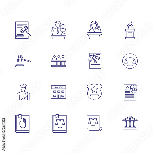 Cuadros en Lienzo  Crime line icon set