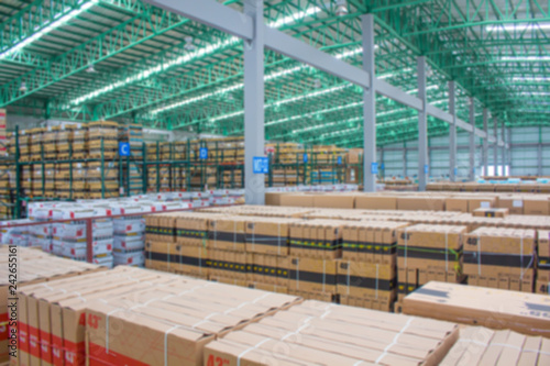 Fototapeta warehouse. Rows of shelves with boxes(Blur picture) obraz