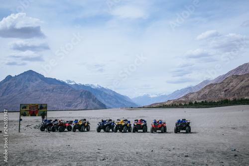 Foto op Aluminium Arctica ATV ride in the sand dunes at Nubra Valley