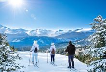 Active Family Skiing On Winter Vacation. Rocky Mountain National Park. Close To Estes Park, Colorado, USA