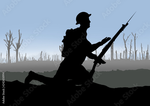 Canvas Prints Military Vintage WW1 British Soldier.