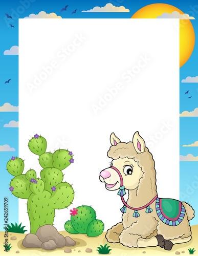 Tuinposter Voor kinderen Llama theme frame 2