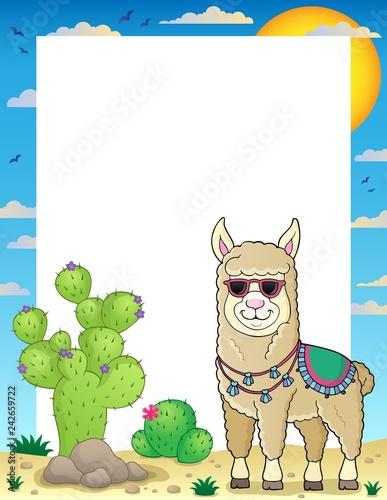 Tuinposter Voor kinderen Llama with sunglasses theme frame 1