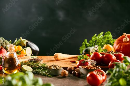 Fresh salad vegetables and herbs Canvas Print