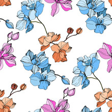 Vector Pink And Blue Orchid Flower. Engraved Ink Art. Seamless Background Pattern. Fabric Wallpaper Print Texture.