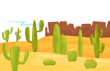 Cartoon Landscape Of Sandy Desert With Green Cacti And Brown Rocky Mountains. Natural Scenery. Flat Vector Design