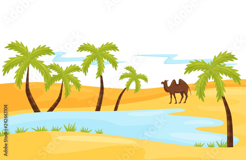 Foto Sandy landscape with blue lake, brown camel and palm tree