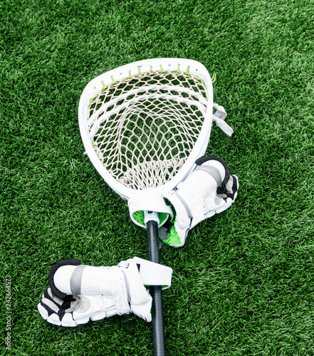 Fotografía Lacrosse goalie stick with hgloves on turf field