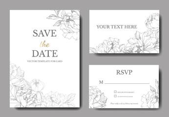Vektor Cvijet srebrnog božura. Ugravirana umjetnost tinte. Pozadina vjenčanja. Hvala, rsvp, pozivnica, elegantan set čestitki.