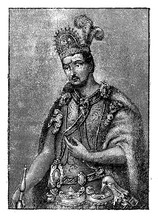 Portrait Of  Moctezuma II (1466 – 1520) Ruler Of The Aztec Empire In Mexico, Killed During The Spanish Conquest Of  Hernán Cortés