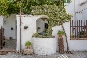 Fototapeta na wymiar Well of brick, painted white in a beautiful Andalusian patio, Spain