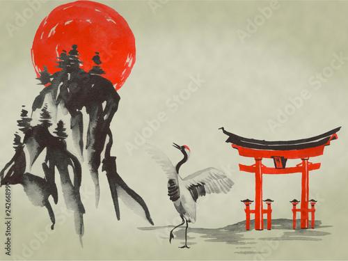 Fototapeta Japan traditional sumi-e painting. Watercolor and ink illustration in style sumi-e, u-sin. Fuji mountain, sakura, sunset. Japan sun. Indian ink illustration. Japanese picture. obraz na płótnie