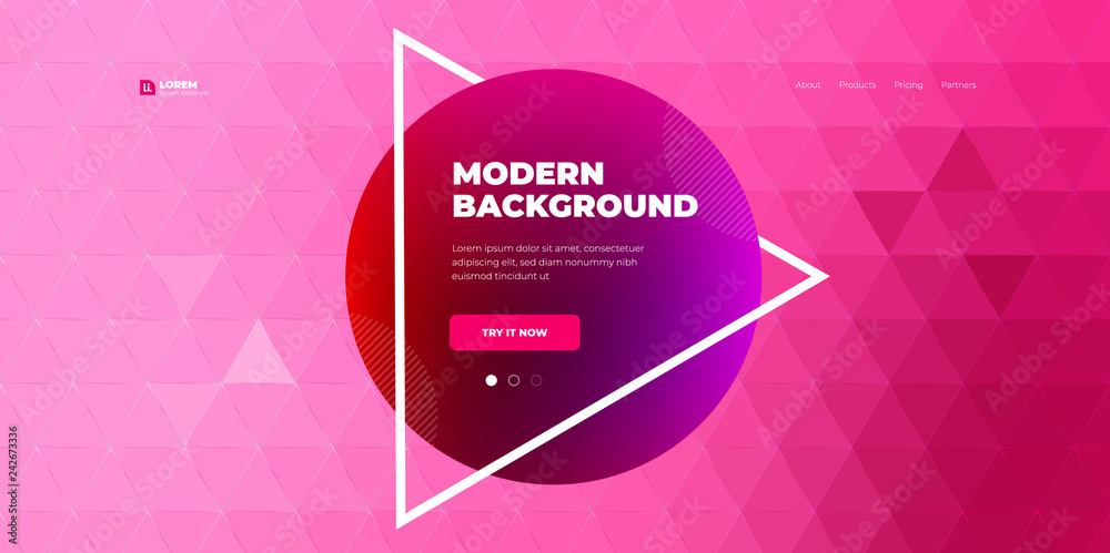 Fototapeta Geometric abstract gradient background design. Triangle shape abstract vector composition on background. Futuristic design posters. Eps10 vector.