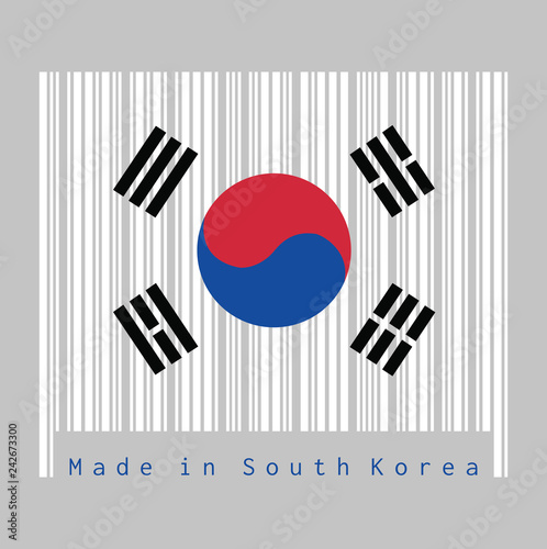 Fotografía  Barcode set the color of South Korea flag, the white color with Taegeuk and black trigrams on black background
