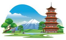 Japan Pagoda With Beautiful Background Scenery