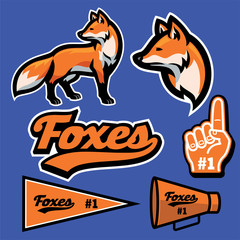 fox mascot set collection in sport style