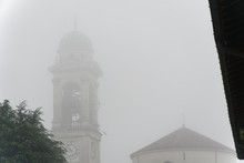 Cathedral Church Bell Tower In Fog, Gothic Style