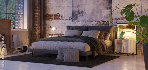 Foto  bed in old vintage industrial loft apartment with candle light- 3d rendering