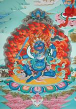 Fiery Blue Tibetan Deity At A Monastery In Kathmandu In Nepal
