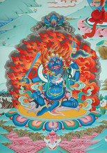 Fiery Blue Tibetan Deity At A ...