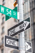 One way street signs in New York City