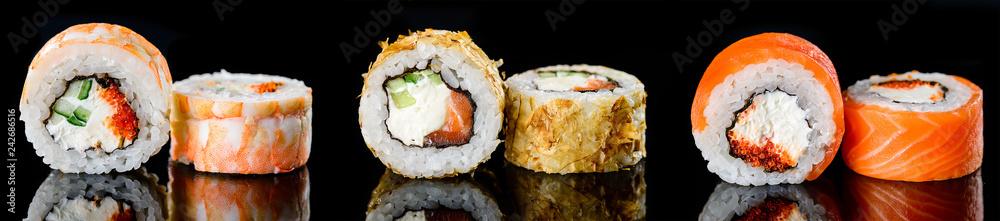 Fototapety, obrazy: Sushi pieces Japanese food, Sushi menu