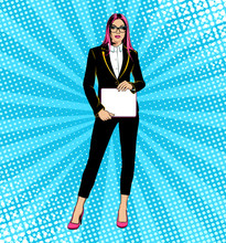 Business Woman In Costume. Pop Art Style. Vector Illustration.