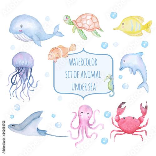 set of watercolor cute animal under sea Wall mural
