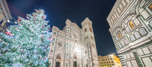 Duomo Of Florence At Night With Christmas Tree